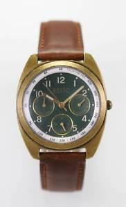 【送料無料】relic watch mens green day date stainless steel gold brown leather quartz