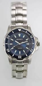 【送料無料】regency watch mens stainless steel silver 50m water resistant date blue quartz