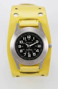 【送料無料】armitron durasteel watch mens 24hr date silver steel 50m leather yellow quartz