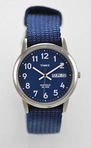 【送料無料】timex indiglo watch mens light day date stainless silver 30m blue nylon quartz