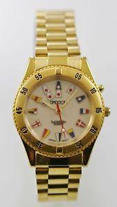 【送料無料】sasson lunoglo watch mens stainless gold steel water resist beige light quartz