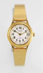 【送料無料】helbros white womens stainless steel gold date quartz battery easy read watch