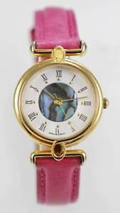 【送料無料】relic watch womens pink leather stainless gold water resist white abalone quartz