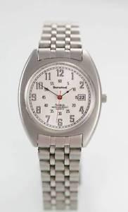 【送料無料】armitron durasteel watch stainless steel silver date 100m white battery quartz