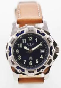 【送料無料】relic blue mens stainless steel silver brown leather date 50m quartz watch