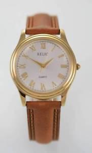 【送料無料】relic white mens gold stainless brown leather battery quartz easy read watch