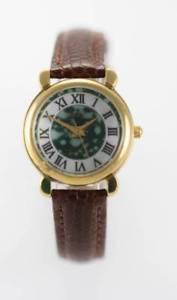 【送料無料】relic green white womens stainless gold brown leather battery quartz watch