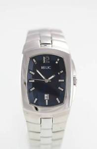 【送料無料】relic mens date silver stainless steel water resistant easy read quartz watch