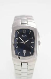 【送料無料】relic mens date silver stainless steel water resistant easy read quartz watch