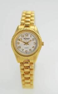 【送料無料】helbros white womens stainless steel gold easy read quartz battery watch