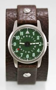 【送料無料】hypnotic watch ltd mens green stainless steel silver leather brown 30m quartz