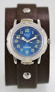【送料無料】relic watch mens blue frogman brown leather stainless silver 50m resist quartz