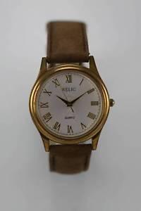 【送料無料】relic watch mens gold stainless steel leather brown water resistant white quartz