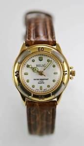【送料無料】relic watch womens white stainless steel gold silver 30m brown leather quartz