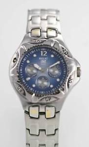【送料無料】relic mens blue stainless steel silver day date 50m quartz battery watch