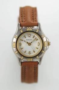 【送料無料】relic womens leather stainless steel water resistant quartz battery watch