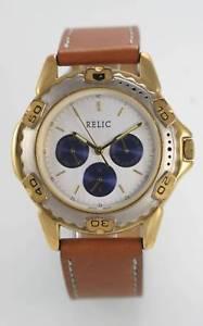 【送料無料】relic white blue mens stainless gold silver tan leather day date quartz watch