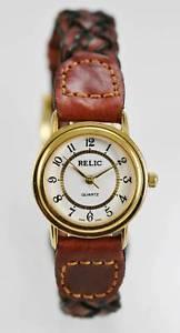 【送料無料】relic watch womens brown leather stainless gold water resistant white quartz