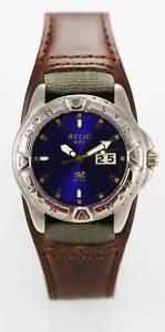 【送料無料】relic watch mens blue date stainless silver brown wide leather 50m quartz