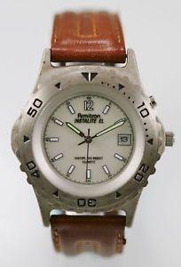 【送料無料】armitron watch mens brown leather stainless steel silver 30m white date quartz