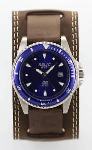 【送料無料】relic watch mens blue date stainless silver battery brown leather 50m quartz