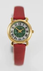 【送料無料】relic watch womens white green stainless steel gold battery red leather quartz