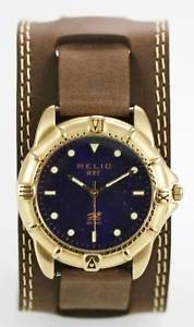 【送料無料】relic watch mens blue stainless gold brown leather 50m water resist blue quartz