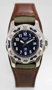 【送料無料】relic watch mens brown leather stainless steel silver 50m blue date quartz