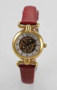 【送料無料】relic watch womens skeleton stainless steel gold leather maroon battery quartz