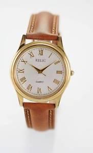 【送料無料】relic mens white stainless gold brown leather quartz easy read battery watch