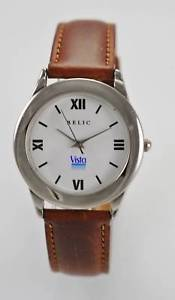 【送料無料】relic watch mens stainless silver brown leather battery white easy read quartz