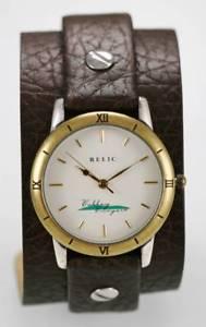 【送料無料】relic watch mens white stainless steel gold silver leather brown wide quartz