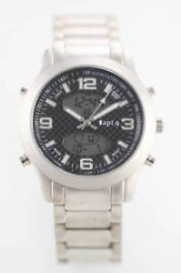 【送料無料】apt 9 men watch chrono date light alarm silver stainless water resistant quartz
