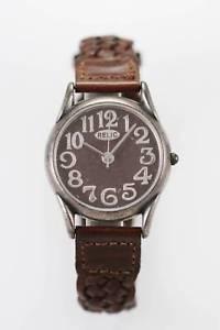 【送料無料】relic watch mens brown leather stainless antiqued silver water resistant quartz