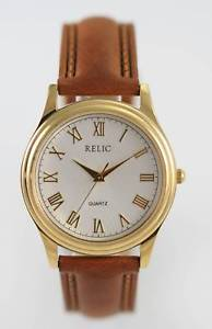 relic white mens stainless gold brown leather battery quartz easy read watch