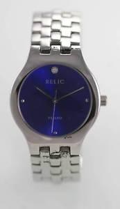 【送料無料】relic blue mens stainless silver 30m easy read quartz battery watch