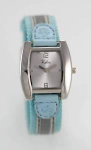 【送料無料】relic white womens stainless steel silver blue canvas quartz battery watch
