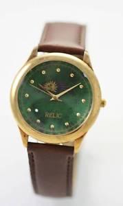 【送料無料】relic moon green mens brown leather stainless steel gold battery quartz watch