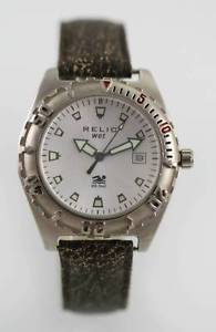 【送料無料】relic white mens stainless silver brown leather 50m battery date quartz watch