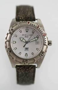 【送料無料】relic white mens stainless silver brown leather 50m battery date quartz watch