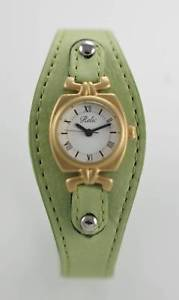 【送料無料】relic white womens stainless gold green wide leather quartz battery watch