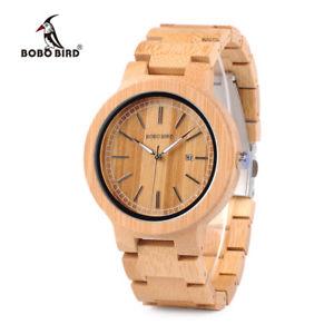 【送料無料】bobo bird original bamboo quartz watches wristwatch date xmas gifts for him her