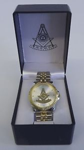 【送料無料】 masonic mason watch wristwatch gold amp; silver square amp; compass past master