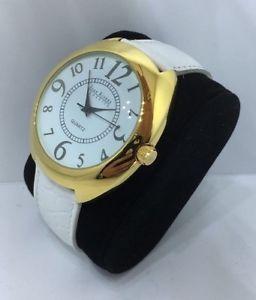 【送料無料】ladys joan rivers classics 18k gold plated watch white leather strap