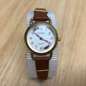 vintage futura lady moon phase gold tone analog quartz watch hours~ battery