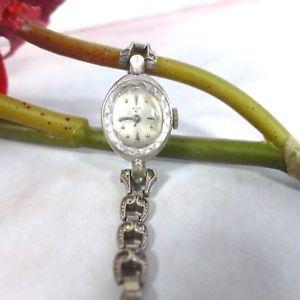 【送料無料】vintage elgin 10k white gold plated womens swiss wristwatch watch w details
