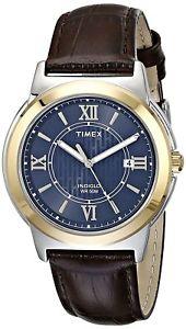 【送料無料】 timex t2p521 main street mens twotone stainless steel watch brown leather