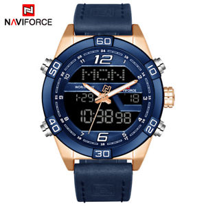 【送料無料】naviforce fashion sports waterproof date mens leather quartz watch