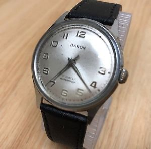 【送料無料】vintage baron mens 17 jewels water proof silver handwinding watch hours~runs