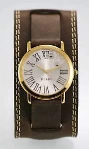 【送料無料】relic watch mens white stainless gold water resistant brown wide leather quartz